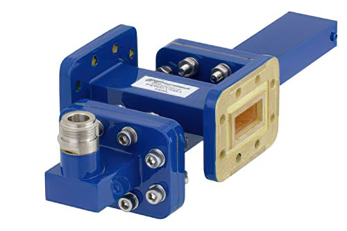WR-90 Waveguide 30 dB Crossguide Coupler, CPR-90G Flange, N Female Coupled Port, 8.2 GHz to 12.4 GHz, Bronze
