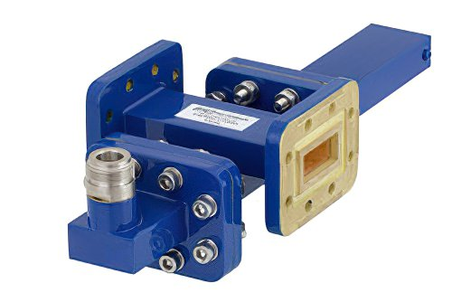 WR-90 Waveguide 40 dB Crossguide Coupler, CPR-90G Flange, N Female Coupled Port, 8.2 GHz to 12.4 GHz, Bronze