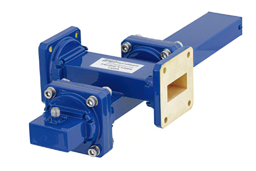 WR-112 Waveguide 40 dB Crossguide Coupler, UG-51/U Square Cover Flange, SMA Female Coupled Port, 7.05 GHz to 10 GHz, Bronze