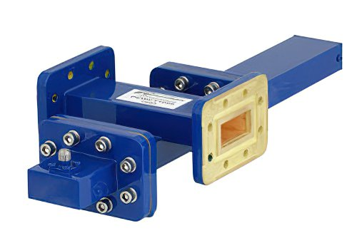 WR-112 Waveguide 30 dB Crossguide Coupler, CPR-112G Flange, SMA Female Coupled Port, 7.05 GHz to 10 GHz, Bronze