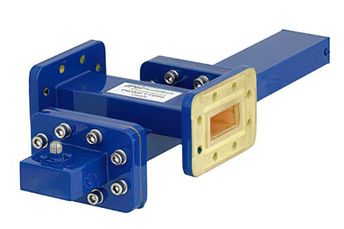 WR-112 Waveguide 40 dB Crossguide Coupler, CPR-112G Flange, SMA Female Coupled Port, 7.05 GHz to 10 GHz, Bronze