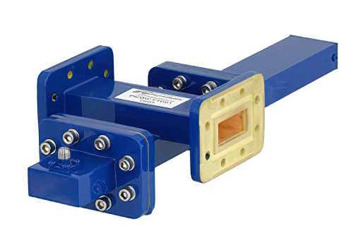 WR-112 Waveguide 50 dB Crossguide Coupler, CPR-112G Flange, SMA Female Coupled Port, 7.05 GHz to 10 GHz, Bronze