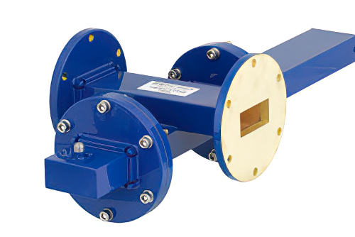 WR-137 Waveguide 40 dB Crossguide Coupler, UG-344/U Round Cover Flange, SMA Female Coupled Port, 5.85 GHz to 8.2 GHz, Bronze