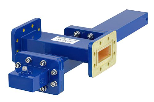 WR-137 Waveguide 20 dB Crossguide Coupler, CPR-137G Flange, SMA Female Coupled Port, 5.85 GHz to 8.2 GHz, Bronze