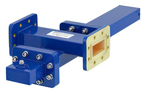 WR-137 Waveguide 40 dB Crossguide Coupler, CPR-137G Flange, SMA Female Coupled Port, 5.85 GHz to 8.2 GHz, Bronze