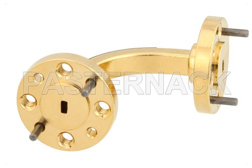 WR-10 Instrumentation Grade Waveguide E-Bend with UG-387/U-Mod Flange Operating from 75 GHz to 110 GHz