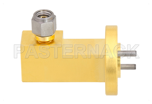 WR-10 UG-387/U-Mod Round Cover Flange to 1.0mm Male Waveguide to Coax Adapter Operating From 75 GHz to 110 GHz, W Band