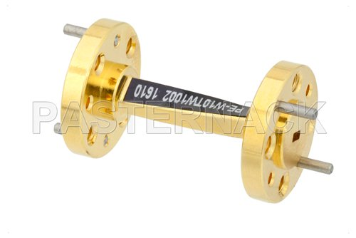 WR-10 45 Degree Left-hand Waveguide Twist With a UG-387/U-Mod Flange Operating From 75 GHz to 110 GHz