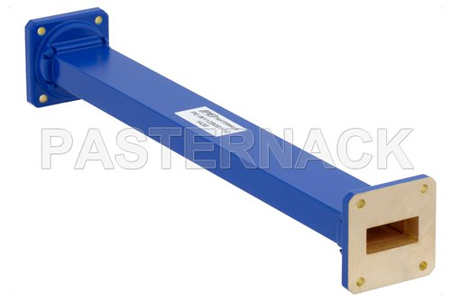 WR-112 Commercial Grade Straight Waveguide Section 12 Inch Length with UG-51/U Flange Operating from 7.05 GHz to 10 GHz