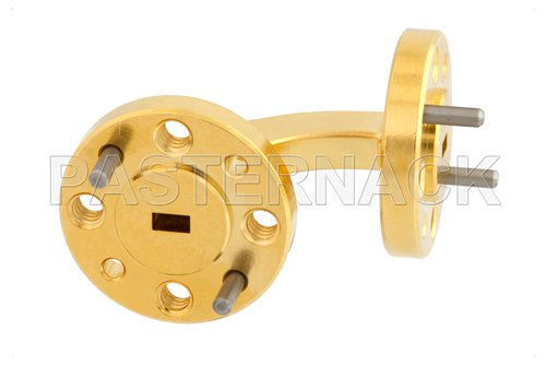 WR-12 Instrumentation Grade Waveguide H-Bend with UG-387/U Flange Operating from 60 GHz to 90 GHz