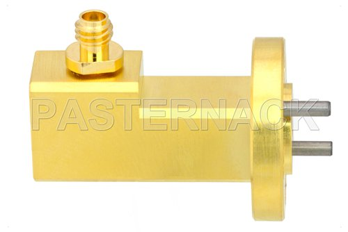 WR-12 UG-387/U Round Cover Flange to 1.0mm Female Waveguide to Coax Adapter Operating From 60 GHz to 90 GHz, E Band