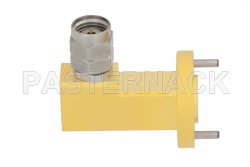 WR-15 UG-385/U Round Cover Flange to 1.85mm Male Waveguide to Coax Adapter Operating From 50 GHz to 65 GHz, V Band