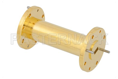 WR-19 to WR-22 Waveguide Transition 2 Inch Length, UG-383/U-Mod Round Cover Flange to UG-383/U Round Cover Flange