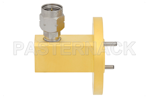 WR-22 UG-383/U Round Cover Flange to 2.4mm Male Waveguide to Coax Adapter Operating From 33 GHz to 50 GHz, Q Band