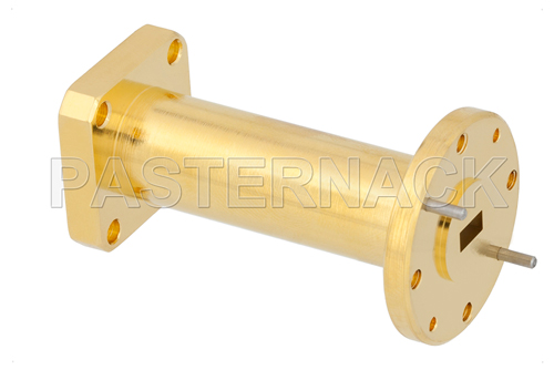 WR-22 to WR-42 Waveguide Transition 2 Inch Length With UG-383/U Round Cover Flange to UG-595/U Square Cover Flange