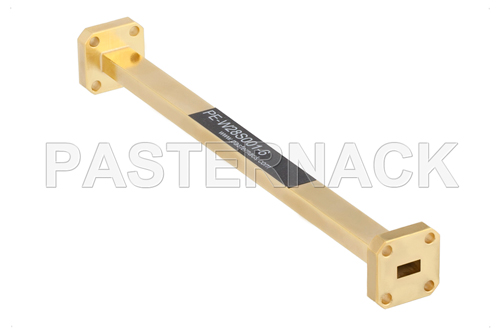 WR-28 Instrumentation Grade Straight Waveguide Section 6 Inch Length with UG-599/U Flange Operating from 26.5 GHz to 40 GHz
