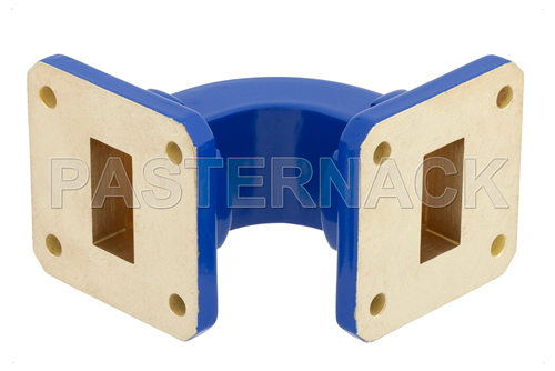 WR-75 Commercial Grade Waveguide E-Bend with UBR120 Flange Operating from 10 GHz to 15 GHz