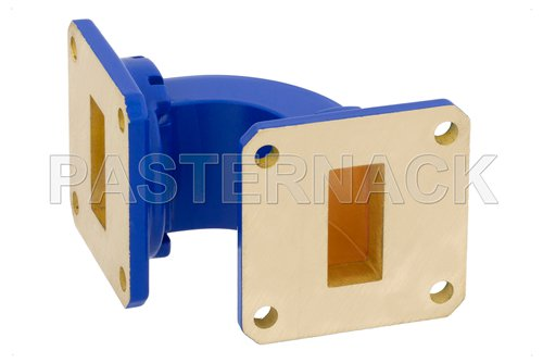 WR-90 Commercial Grade Waveguide E-Bend with UG-39/U Flange Operating from 8.2 GHz to 12.4 GHz