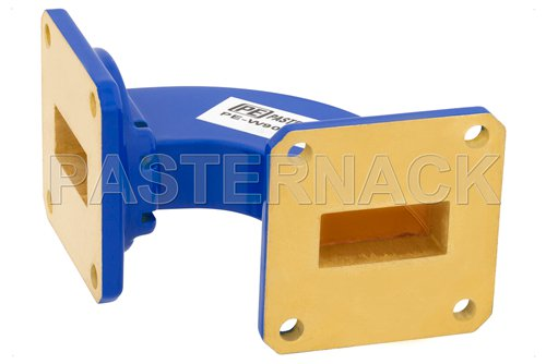 WR-90 Commercial Grade Waveguide H-Bend with UG-39/U Flange Operating from 8.2 GHz to 12.4 GHz