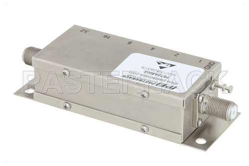 6 Bit Relay Controlled Programmable Attenuator, 63 dB Up to 1,000 MHz, 75 Ohm, 1 dB Steps, +12V, F Female