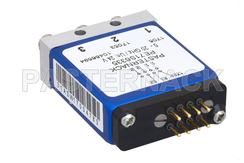 SPDT 0.03 dB Low Insertion Loss Repeatability Electromechanical Relay Latching Switch, DC to 20 GHz, 1W, 24V, Indicators, Self Cut Off, SMA