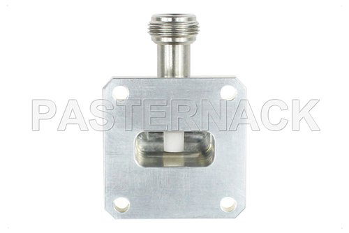WR-90 Square Type Flange to N Female Waveguide to Coax Adapter Operating From 8.2 GHz to 12.4 GHz, X Band