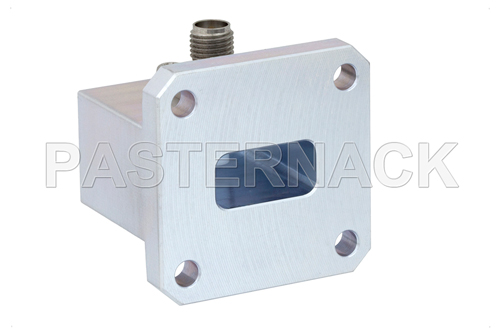 WR-62 Square Type Flange to SMA Female Waveguide to Coax Adapter Operating From 12.4 GHz to 18 GHz, Ku Band