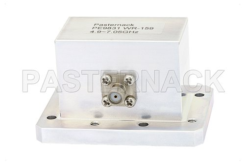 WR-159 CMR-159 Flange to SMA Female Waveguide to Coax Adapter Operating From 4.9 GHz to 7.05 GHz, C Band