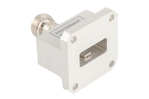 WR-90 UG-135/U Square Cover Flange to End Launch N Female Waveguide to Coax Adapter Operating From 8.2 GHz to 12.4 GHz, X Band