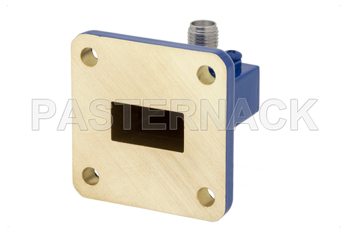 WR-62 UG-1665/U Square Cover Flange to SMA Female Waveguide to Coax Adapter Operating From 12.4 GHz to 18 GHz, Ku Band