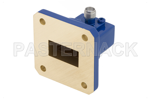 WR-75 Square Cover Flange to SMA Female Waveguide to Coax Adapter Operating From 10 GHz to 15 GHz, M Band