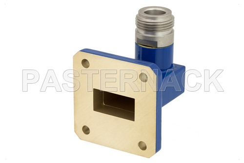 WR-75 Square Cover Flange to N Female Waveguide to Coax Adapter Operating From 10 GHz to 15 GHz, M Band