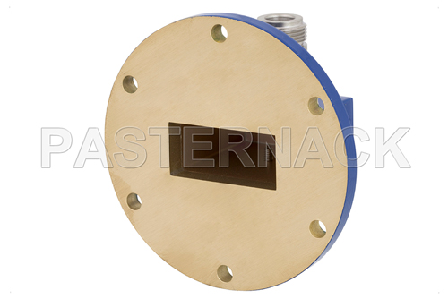 WR-137 UG-344/U Round Cover Flange to N Female Waveguide to Coax Adapter Operating From 5.85 GHz to 8.2 GHz, C Band