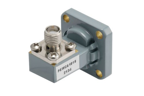 WR-42 UG-595/U Square Cover Flange to SMA Female Waveguide to Coax Adapter Operating From 18 GHz to 26.5 GHz, K Band