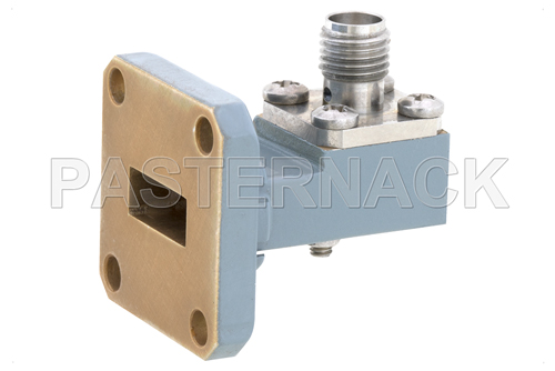 WR-42 UG-597/U Square Cover Flange to SMA Female Waveguide to Coax Adapter Operating from 18 GHz to 26.5 GHz