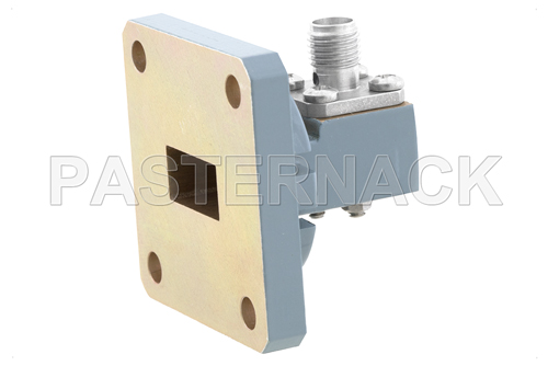 WR-51 Square Cover Flange to SMA Female Waveguide to Coax Adapter, 15 GHz to 22 GHz, N Band, Aluminum, Paint