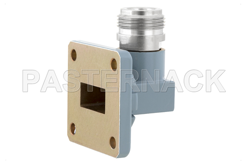 WR-62 UG-1665/U Square Cover Flange to N Female Waveguide to Coax Adapter Operating from 12.4 GHz to 18 GHz