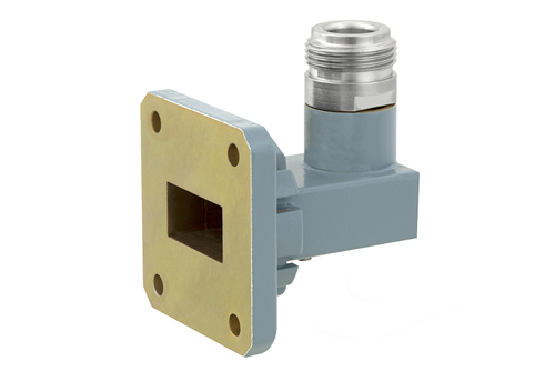 WR-75 Square Cover Flange to Type N Female Waveguide to Coax Adapter, 10 GHz to 15 GHz, M Band, Aluminum, Paint