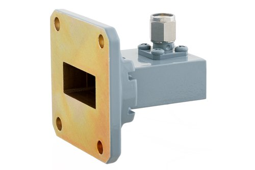 WR-90 UG-135/U Square Cover Flange to SMA Male Waveguide to Coax Adapter, 8.2 GHz to 12.4 GHz, X Band, Aluminum, Paint