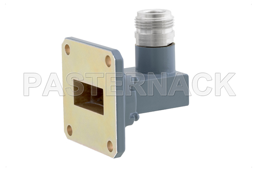 WR-90 UG-135/U Square Cover Flange to Type N Female Waveguide to Coax Adapter, 8.2 GHz to 12.4 GHz, X Band, Aluminum, Paint