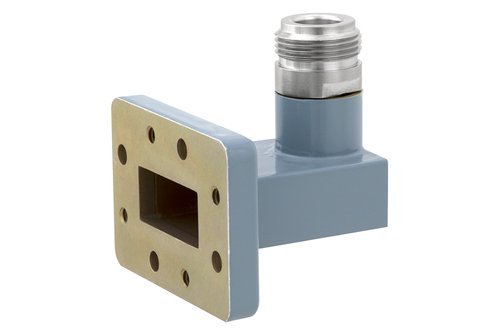 WR-90 CMR-90 Flange to Type N Female Waveguide to Coax Adapter, 8.2 GHz to 12.4 GHz, X Band, Aluminum, Paint