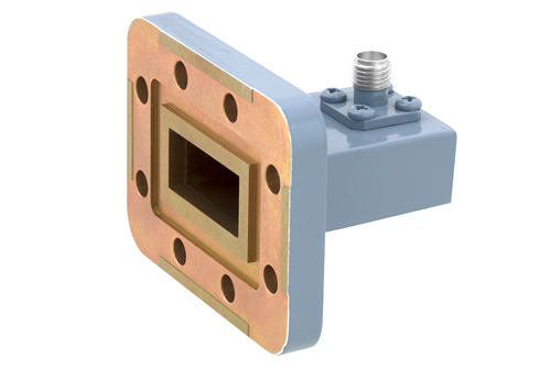 WR-90 CPR-90G Grooved Flange to SMA Female Waveguide to Coax Adapter, 8.2 GHz to 12.4 GHz, X Band, Aluminum, Paint