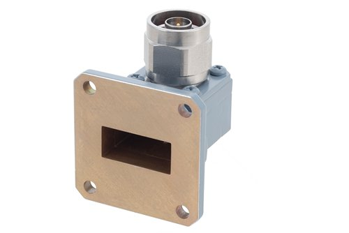 WR-90 CPR-90G Grooved Flange to Type N Male Waveguide to Coax Adapter, 8.2 GHz to 12.4 GHz, X Band, Aluminum, Paint