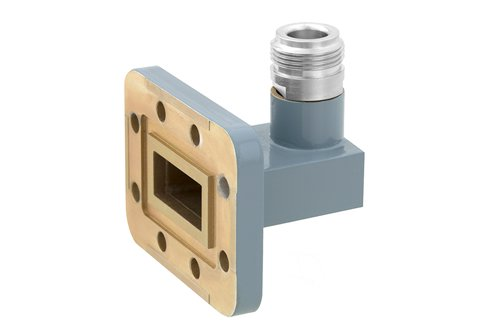 WR-90 CPR-90G Grooved Flange to Type N Female Waveguide to Coax Adapter, 8.2 GHz to 12.4 GHz, X Band, Aluminum, Paint