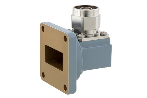 WR-102 UG-1493/U Square Cover Flange to N Male Waveguide to Coax Adapter Operating from 7 GHz to 11 GHz