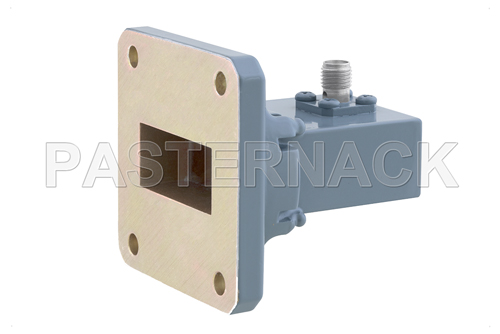 WR-112 UG-138/U Square Cover Flange to SMA Female Waveguide to Coax Adapter Operating from 7.05 GHz to 10 GHz