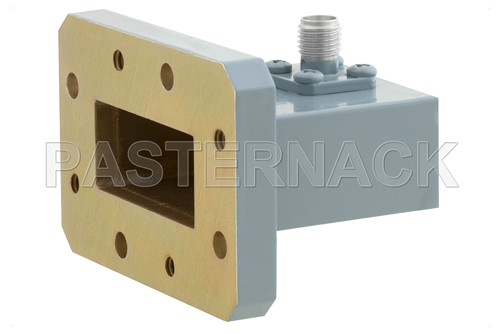WR-112 CMR-112 Flange to SMA Female Waveguide to Coax Adapter, 7.05 GHz to 10 GHz, H Band, Aluminum, Paint