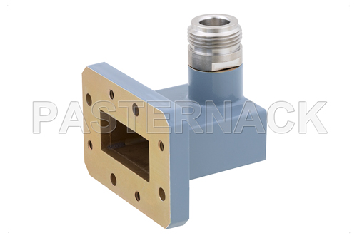 WR-112 CMR-112 Flange to Type N Female Waveguide to Coax Adapter, 7.05 GHz to 10 GHz, H Band, Aluminum, Paint