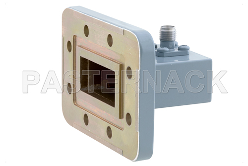 WR-112 CPR-112G Grooved Flange to SMA Female Waveguide to Coax Adapter, 7.05 GHz to 10 GHz, H Band, Aluminum, Paint