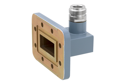 WR-112 CPR-112G Grooved Flange to Type N Female Waveguide to Coax Adapter, 7.05 GHz to 10 GHz, H Band, Aluminum, Paint